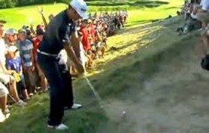 Dustin Johnson's ill-fated bunker shot on the last on Sunday. Photo Credit: Google Images