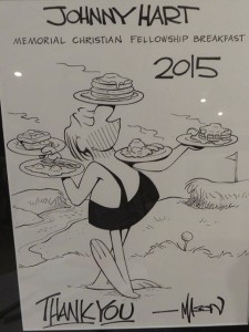 Cartoonist Mason Mastroianni created this artwork for this year's breakfast. One lucky raffle winner took it home after breakfast.
