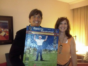 With Suzanne Yost McCourt at the 2013 World Golf Hall of Fame Induction with her artwork of Inductee Ken Venturi.