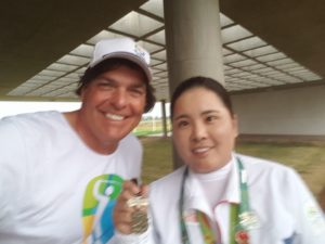 With Inbee Park, Women's Olympic Golf Gold Medalist and her Gold Medal after she won on Saturday, August 20th in Rio at the Olympic Golf Course.