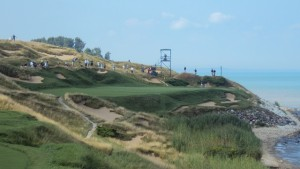 The par-3 7th hole at Whistling Straits.