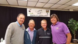 With Fred Funk Mike Goodes & Loren Roberts (R to L) at the Johnny Hart Memorial Christian Fellowship Breakfast on Monday.