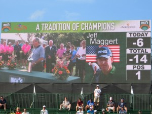 The video scoreboard congratulating Jeff Maggert during the Awards Ceremony on the 18th green.