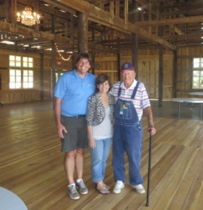 With Mr. Perry and daughter Lydia in the old tobacco barn, now a fabulous wedding reception hall.