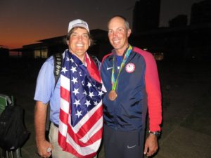 With Matt Kuchar at sunset after he shot a final round 63 to capture the Bronze Medal for the USA!
