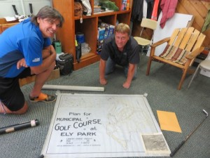 Up at Ely Park with Ray Linsky checking out the original drawings of the golf course from 1925.