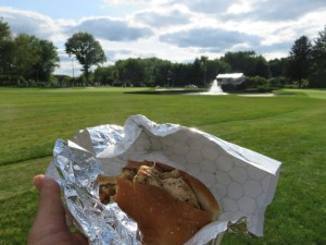 En Joie-ing a spiedie on the run at the 14th in the DSGO!