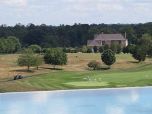 Where the infinity pool ends, golf on the Pete Dye designed Full Cry golf course begins!