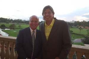 With Mark McCumber on the balcony off the Sunset Room at the Clubhouse of TPC Sawgrass.