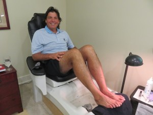 Relaxed after the spa treatment for the pedicure. Nice to be pampered after golf and a hike!
