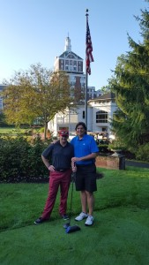 On the historic First Tee of the 1892 Old Course with Assistant PGA Golf Professional Justin Doyle.