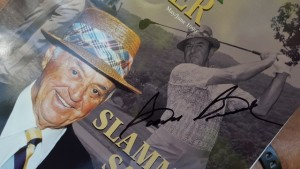 Lee's autographed 1999 cover of Virginia Golfer with 87-year old Slammin' Sam, the Golfer for the Ages.