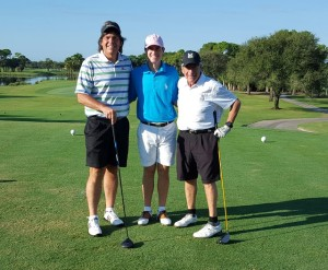 On the first tee at The Champion with Drew Weaver and Frosty. Only one of us is a true champion in golf and it is not me or Frosty!