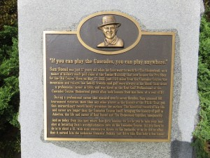 "The Sam Snead plaque on the first tee of the Cascades Course—""if you can play the Cascades, you can play anywhere."""