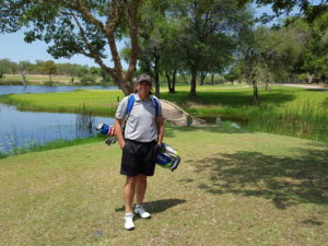 Here I am at the picturesque par-3 ninth hole at the Skukuza Golf Club.