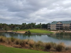 Exciting par-3 11th hole on the Gary Koch designed Mystic Dunes Course.