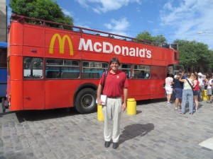 City tour bus evidently sponsored by McDonalds!
