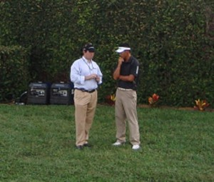 On the right a dejected James Hahn after 4-putting for a double bogey to miss out on his tour card.