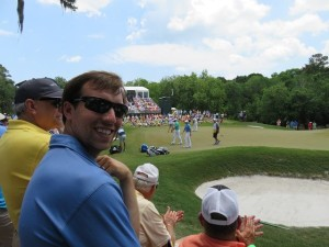 With my buddy Quinn watching the Rory action at the par-3 8th hole.