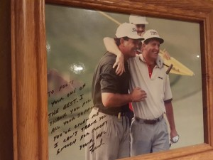 Picture of Fulty with Fred Funk when Funk won his first tournament at the Shell Houston Open.