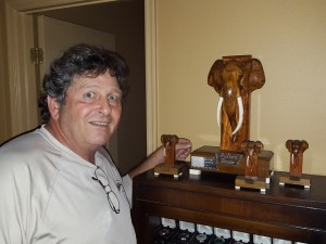 Fulton with his elephant Palabora trophies—he won 3 consecutive years adjacent to Kruger Wildlife Park.