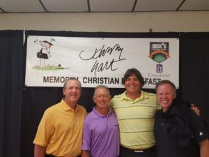 At the Johnny Hart breakfast picture pose with Mike Goodes, Tom Purtzer and David Marr (Left to Right).