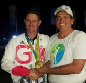 Gold Medalist Justin Rose and his Gold Medal in the evening of Sunday, August 14th, 2016 in Rio at the Olympic Golf Course!