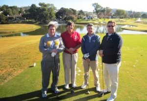 Golfing foursome on the 16th tee- Jeff Brauer, Andy Reistetter, Steve Pate and Damian Pascuzzo...
