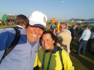 With World Golf Hall of Famer Amy Alcott on the first tee. She co-designed the Olympic Golf Course with Gil Hanse.