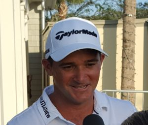 An elated Sam Saunders after his opening 59 gives him a 3-stroke lead in the 2017 Web.com Tour Championship!