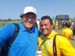 Meeting up with Fabiano on the Olympic Golf Course in Round 1 of the Women's Olympic Golf competition!