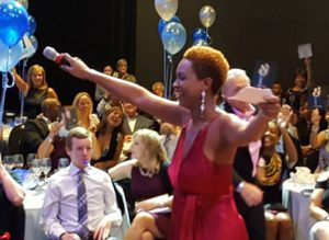 Akia, the Entertainer, doing her thing as Emcee of the DWTS Gala!