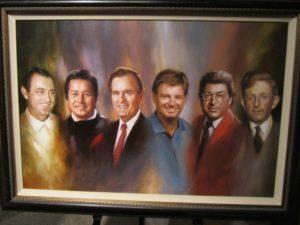 "WGHOF Induction Class of 2011: Doug Ford, Masashi ""Jumbo"" Ozaki, President No. 41 George H. W. Bush, Ernie Els, CBS Sports' Frank Chirkinian, & Jock Hutchinson (L to R)."