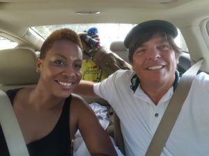 Akia & Andy in the car getting ready to do carpool karaoke!