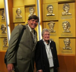 With WGHOF Member Louise Suggs in front of her bronze relief plague on the Wall of Fame.