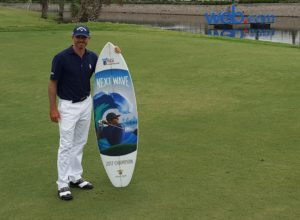 Jonathan Byrd with the champion's surf board after winning the 2017 Web.com Tour Championship!