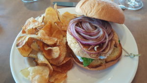 The Salmon Burger with House Made Chips!