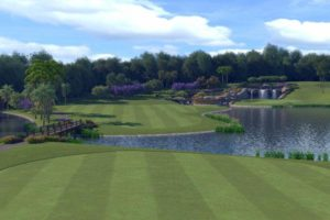A computer-generated rendering of the new island-fairway 4th hole at Seletar CC.