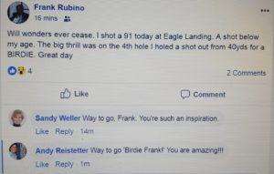 Boy Wonder Frank Rubino shoots 91 at age 92 in September 2018!
