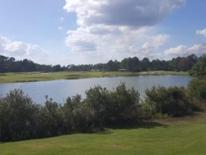 The par-4 9th and par-4 18th encircle one of three lakes on The Lakes! Very scenic golf course!