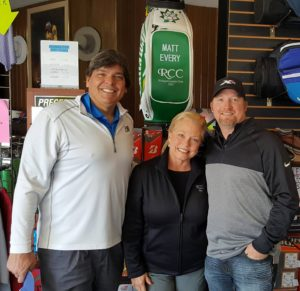 With Charlotte and Ryan Meyers in the well stocked pro shop at 'The Riv!'