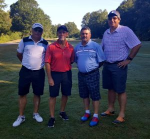 With Scott, Richard, and Kevin on the first tee before teeing off in the final round at Aberdeen CC.