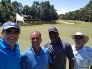 With my new golfing buddies after Round 1: Duke, Barry, & Clay!