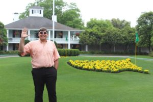 Hello from Founders Circle in front of the Clubhouse at Augusta National!