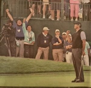 "Tiger Woods eagles the 18th on Saturday at Torrey Pines in the 2008 U.S. Open. Andy in background with arms raised for 'Victory!"" Tiger would birdie the 18th on Sunday to force a playoff, birdie it in the Monday 18-hole playoff to force sudden death and  then par the 7th, the next playoff hole to WIN!   Photo Credit: Unknown."