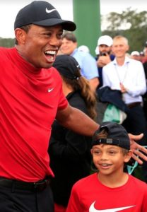 NIKE Dad Tiger & NIKE Son Charlie celebrating his 5th Masters Win! Andy in the background!   Photo Credit: Unknown.