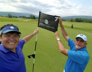 My Bristol Buddy Joe and I on the 7th green with the view of Canandaigua Lake behind us!