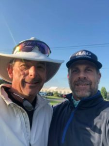 Pic of Hugh Royer III (L) and Doug Barron (R) at the Monday Qualifier for the 2019 DSGO. Photo Credit: Doug Barron